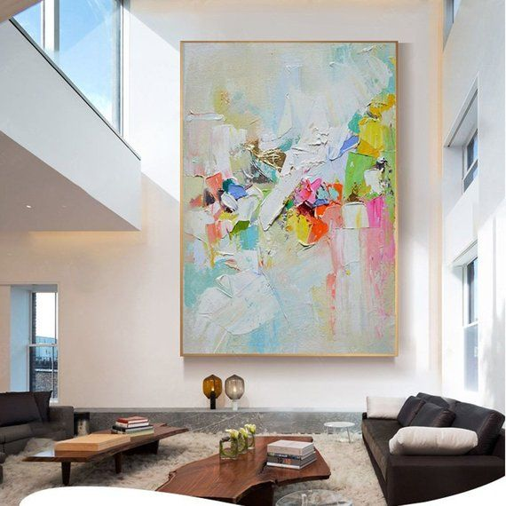 Abstract art painting on canvas wall pictures for living etsy also room