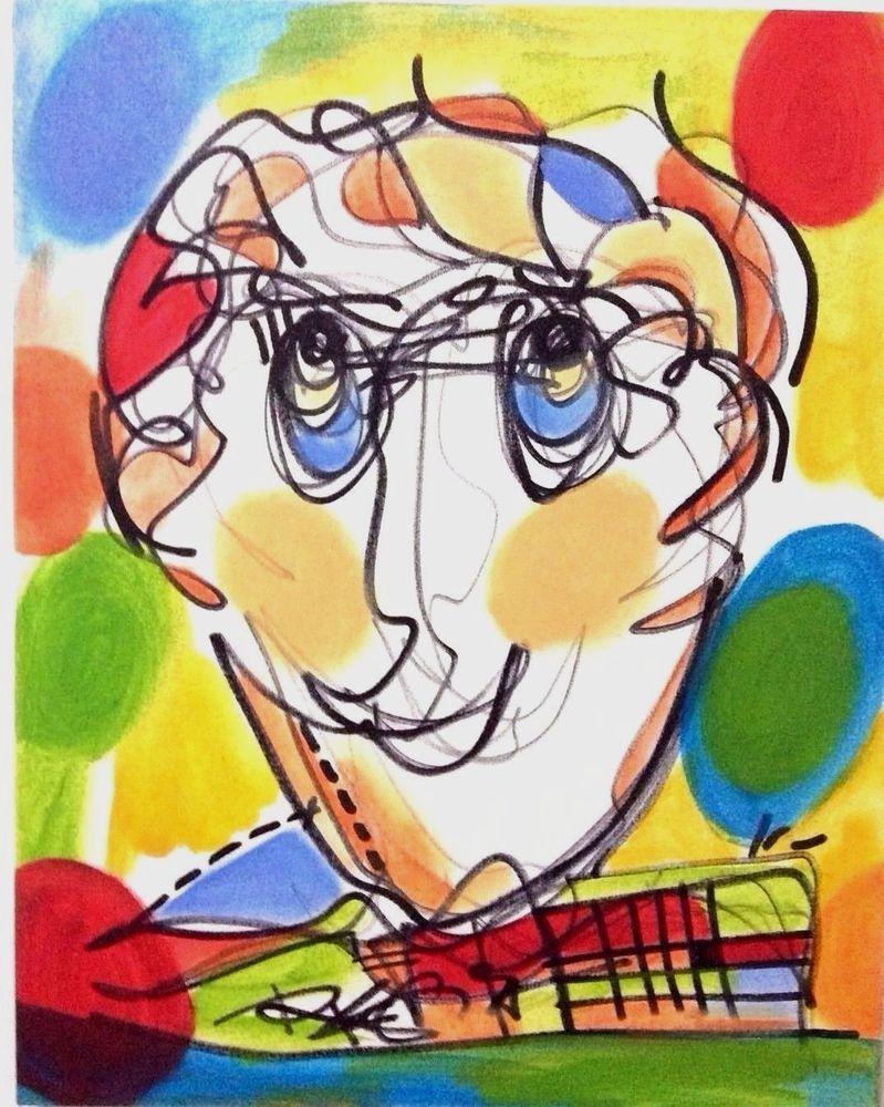Original Face Painting Wise Man Portrait PostModern Art Color - RegiaArt   Original abstract art painting, Colorful contemporary art, Original abstract art