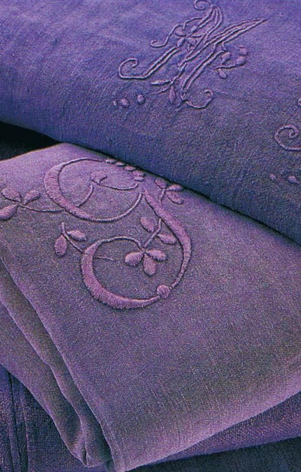 French embroidered linen dyed deep amethyst
