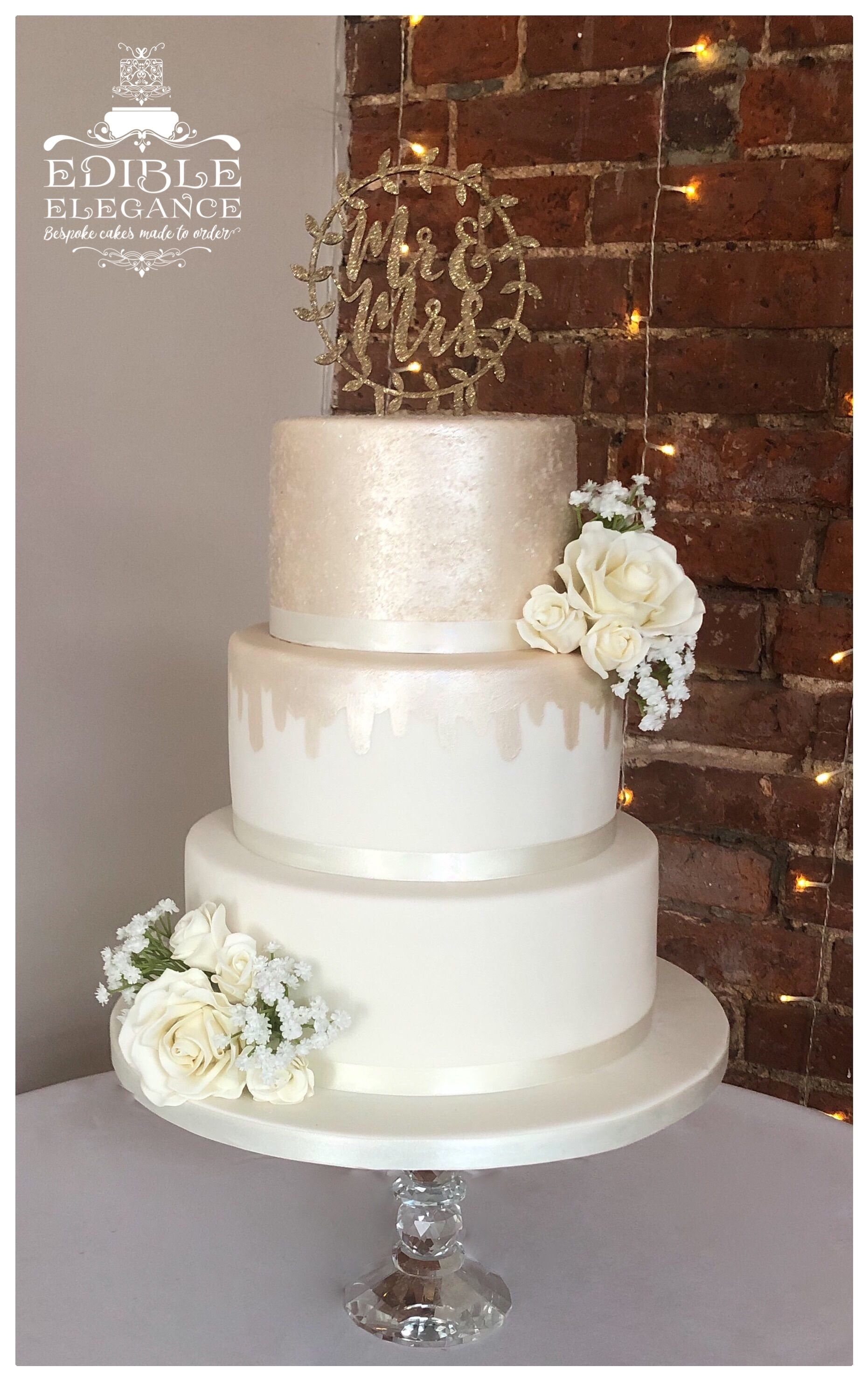 Ivory & Champagne Wedding Cake