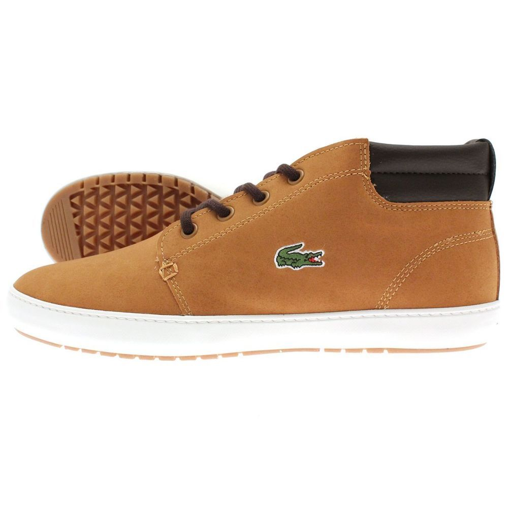 3a0215e4b LACOSTE AMPTHILL TERRA PUT 3 FLEECE TAN leather SIZE 8 mens shoes trainers