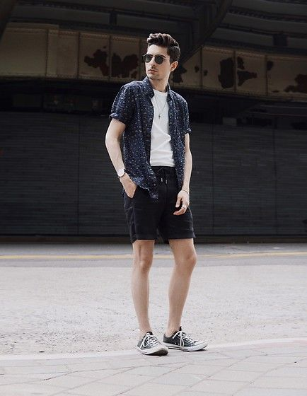 Get this look: http://lb.nu/look/8696581  More looks by Phil Valles: http://lb.nu/darkessentials  Items in this look:  Zanerobe Shirt, Native Youth Shorts, Converse Shoes, Ray Ban Sunglasses   #ootd #ootdmen #springstyle #darkessentials