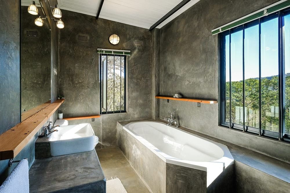 Stunning Bathroom With Isoboard Insulated Ceiling Isoboard Is Effectively Waterproof And Can Be Used In Areas Concrete Bathroom Concrete Bath Bathroom Ceiling