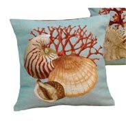Scully and Scully coral needlepoint pillows