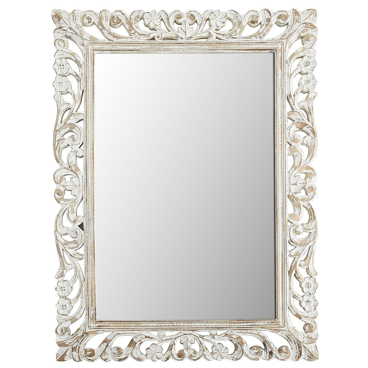 white floral carved wood frame 36x48 mirror