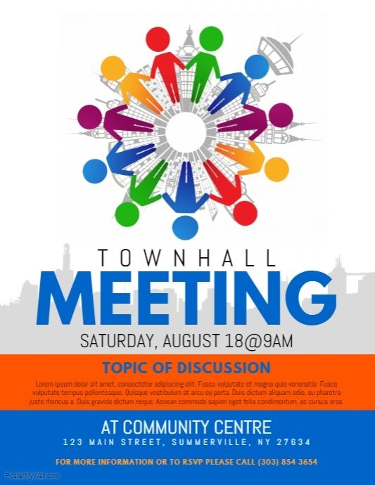 Townhall Meeting Flyer | Social media graphics, Templates ...