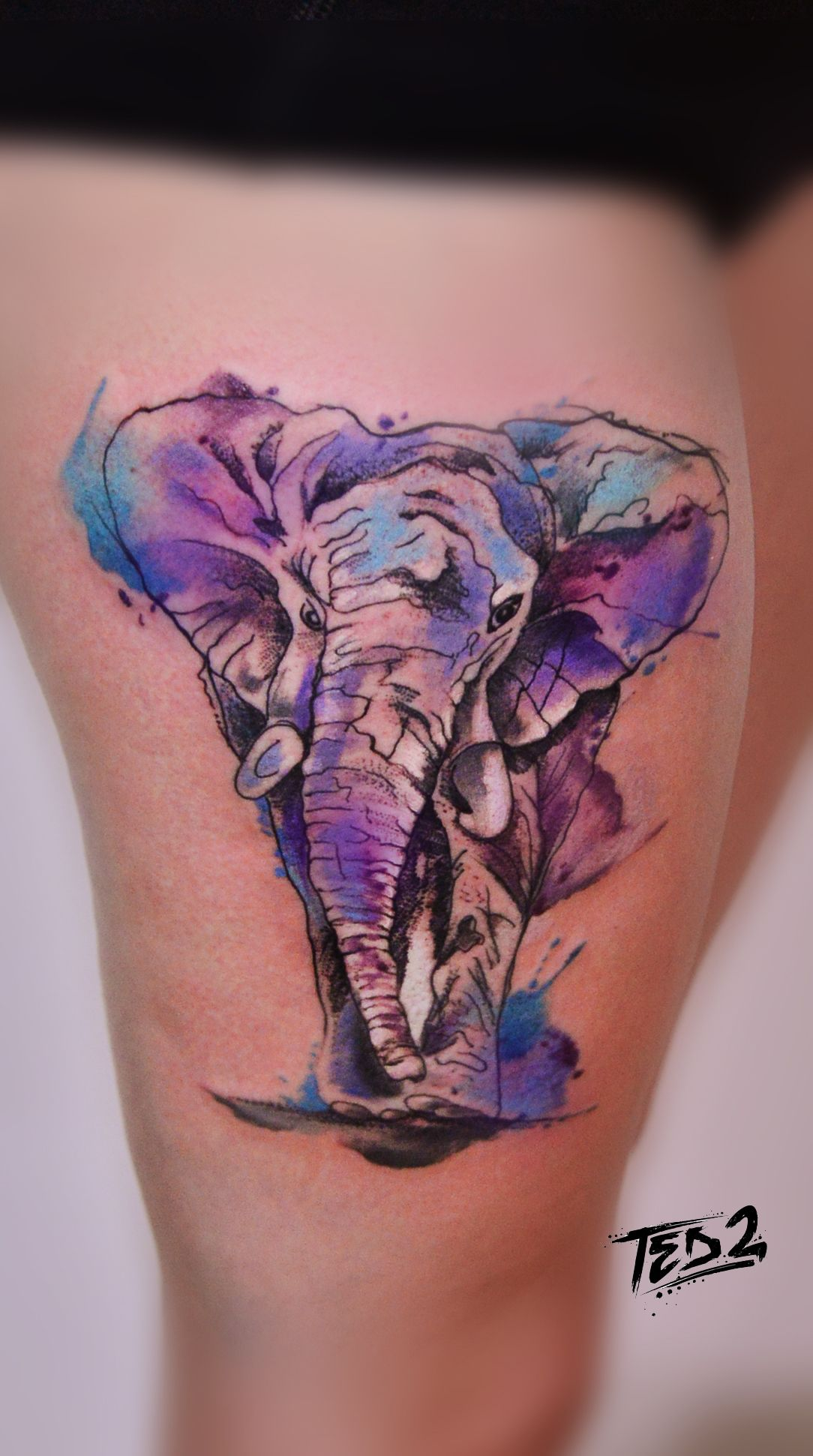 watercolor elefant watercolors watercolor tattoo elefant elephant watercolour aquarell tattoo. Black Bedroom Furniture Sets. Home Design Ideas