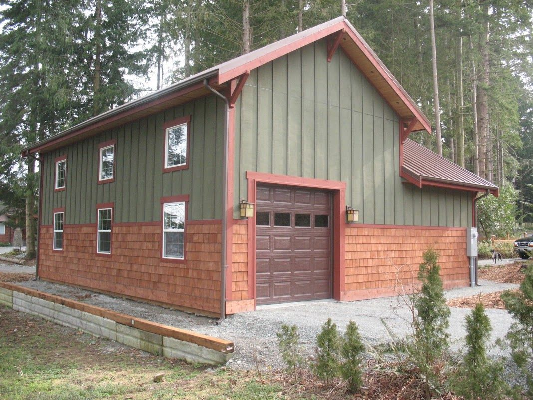 Northwest contemporary post frame shop with office cedar shingles photos of spane buildings mt vernon wa a post frame garage w cedar siding and metal roof by spane buildings inc malvernweather Gallery