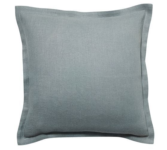 tonal linen flange pillow cover pottery barn 2 as accent pillows on the bed
