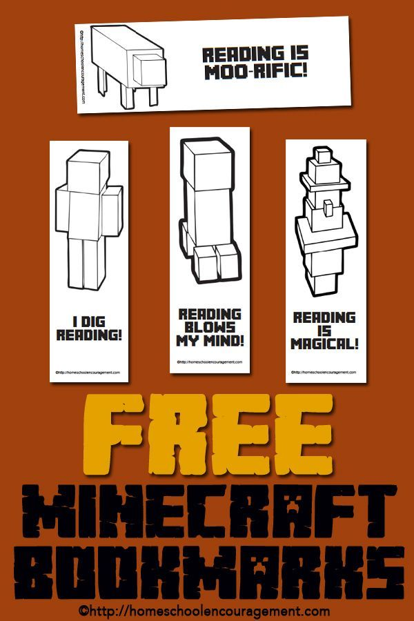Free Minecraft Printables For Reading Bookmarks Reading Logs And
