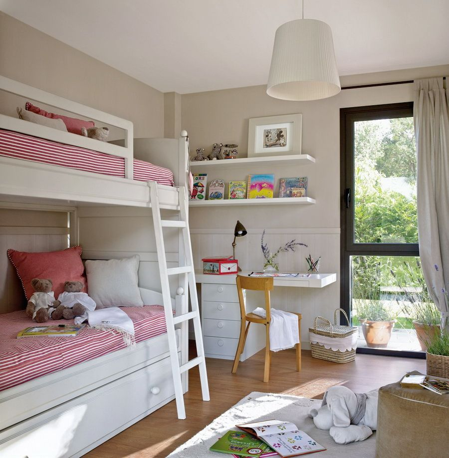 Double loft bed with desk  Pin by stasy on childrenus  Pinterest  Small spaces Shared rooms