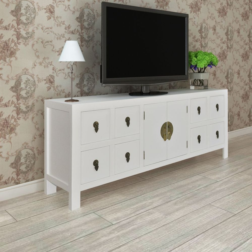 White TV Cabinet Stand Storage Wooden Shelf Sideboard 8 Drawers ...