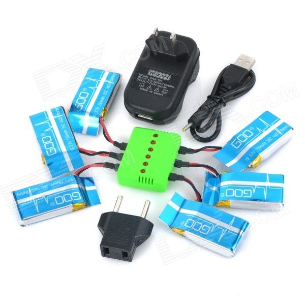 WSX-X6A 6 x 3.7V 750mAh Li-polymer Batteries + 1-to-6 Charger + TOL Adapter + USB Cable Set. Uses WSX-X6A 1-to-