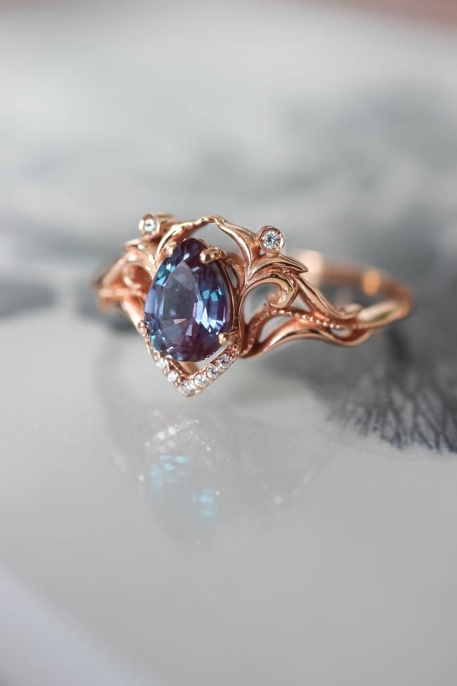 Vintage inspired engagement ring, alexandrite and diamonds