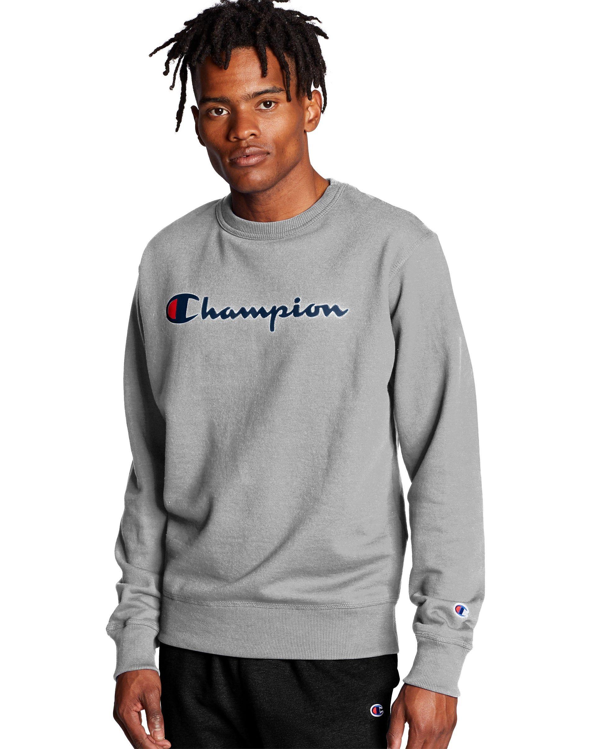 Champion Men S Athletics Powerblend Crew Script Logo Oxford Grey Script Logo Black Hoodie Men Mens Sweatshirts Hoodie [ 2410 x 1900 Pixel ]