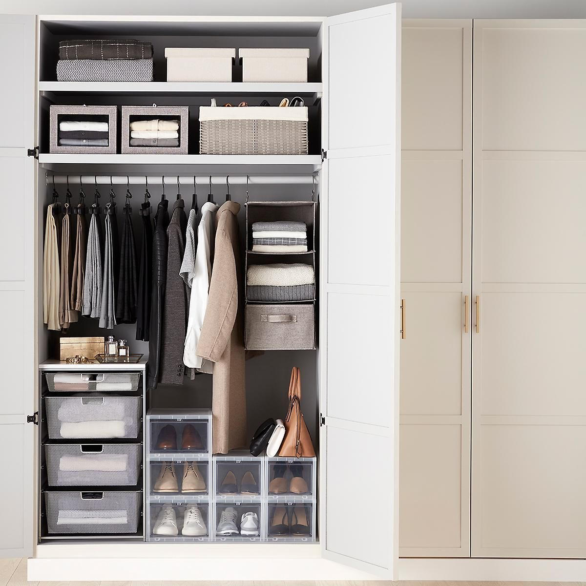 Small Closet Starter Kit With Grey Accessories Storage Solutions Closet Closet Storage No Closet Solutions