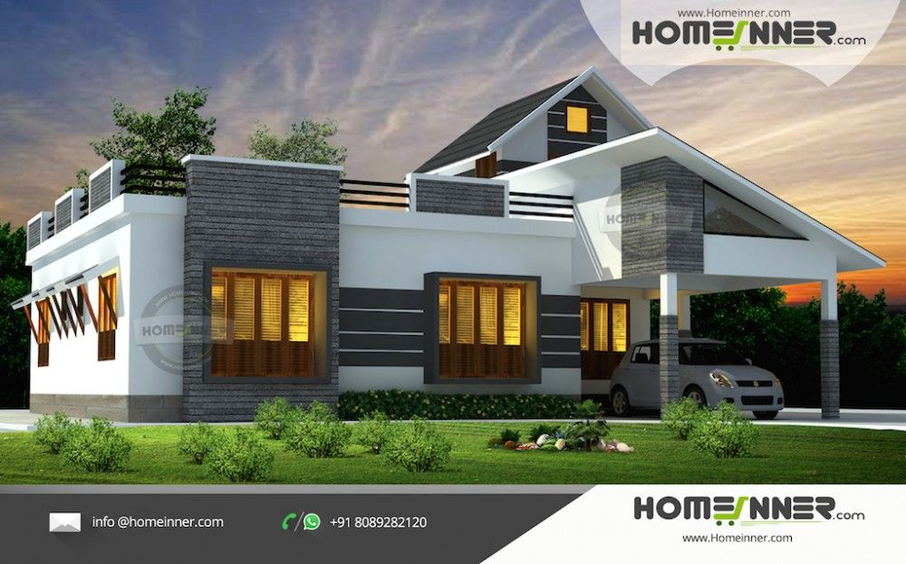 1676 Sqft 3 Bhk Single Floor Low Cost Kerala Home Design With