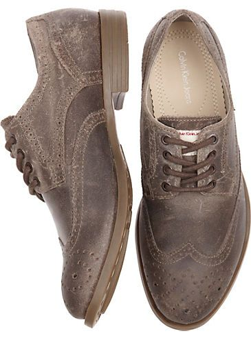 Calvin Klein Offer - Calvin Klein Brown Waxy Wingtip Lace-Up Shoes - Men's Wearhouse $99.99