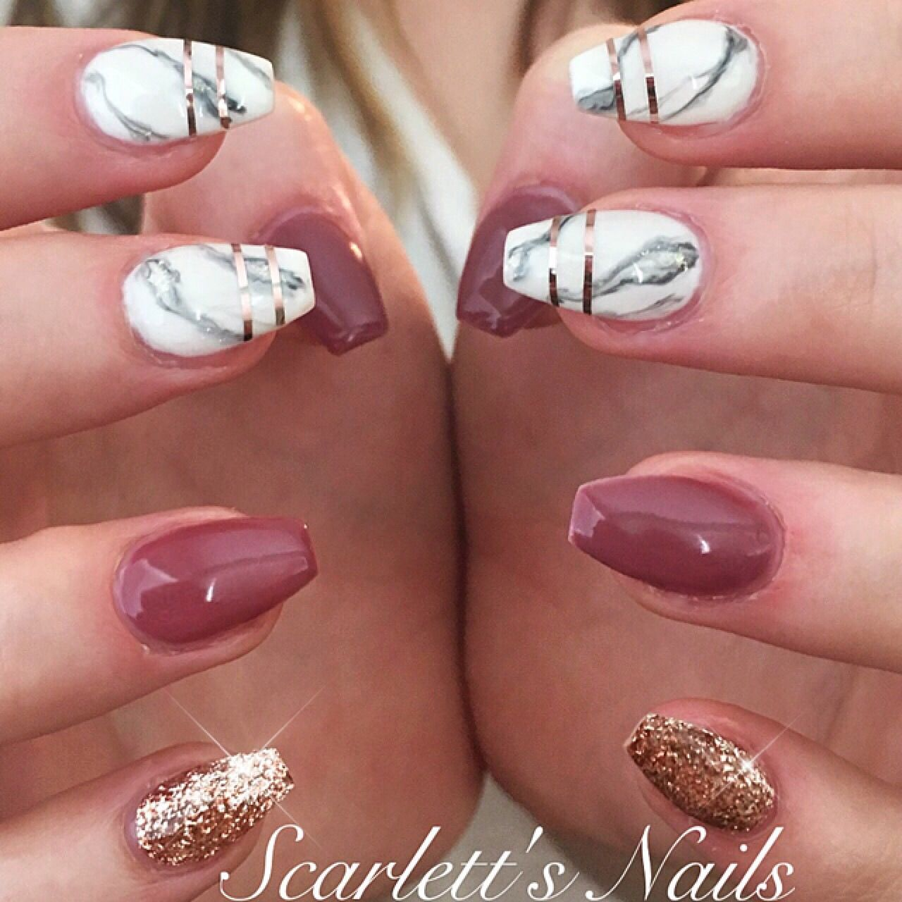 Mauve Rosey posey rose gold marble coffin shape gel nails ...