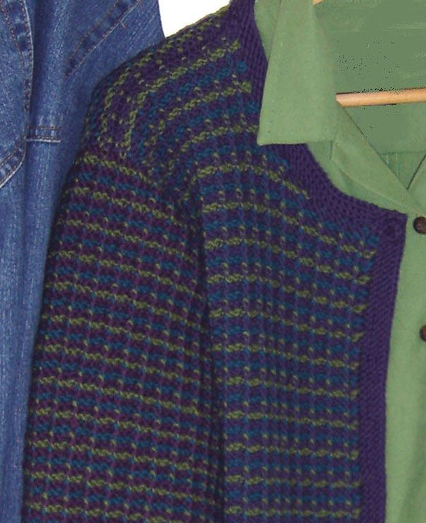 """Create a tweed fabric from your knitting. Choose three colors of DK yarn (22 sts = 4""""/10cm) and knit easy Slip Stitch Tweed stitch pattern."""
