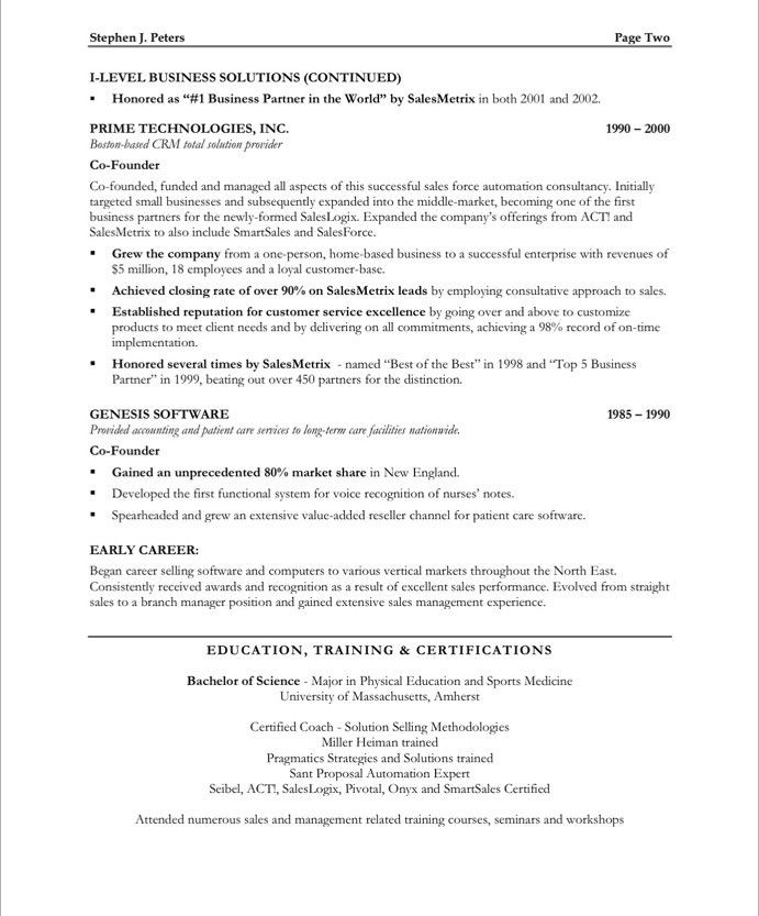 Sales ExecutivePage  Marketing Resume Samples