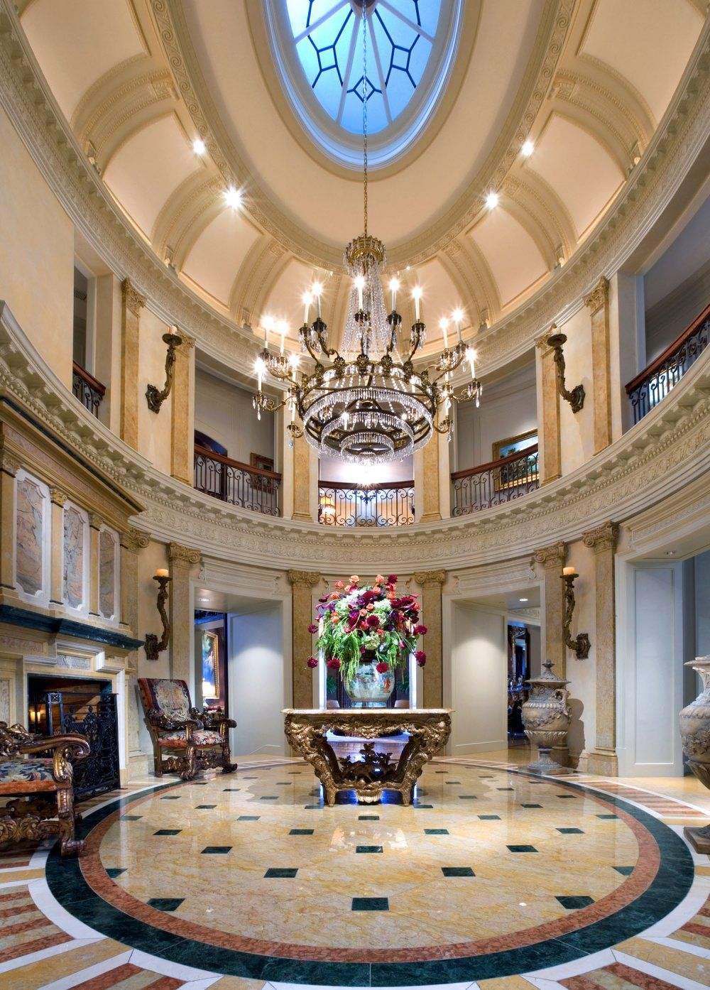 Residential Foyer Lighting : Beautiful residential rotunda foyer dramatic crystal
