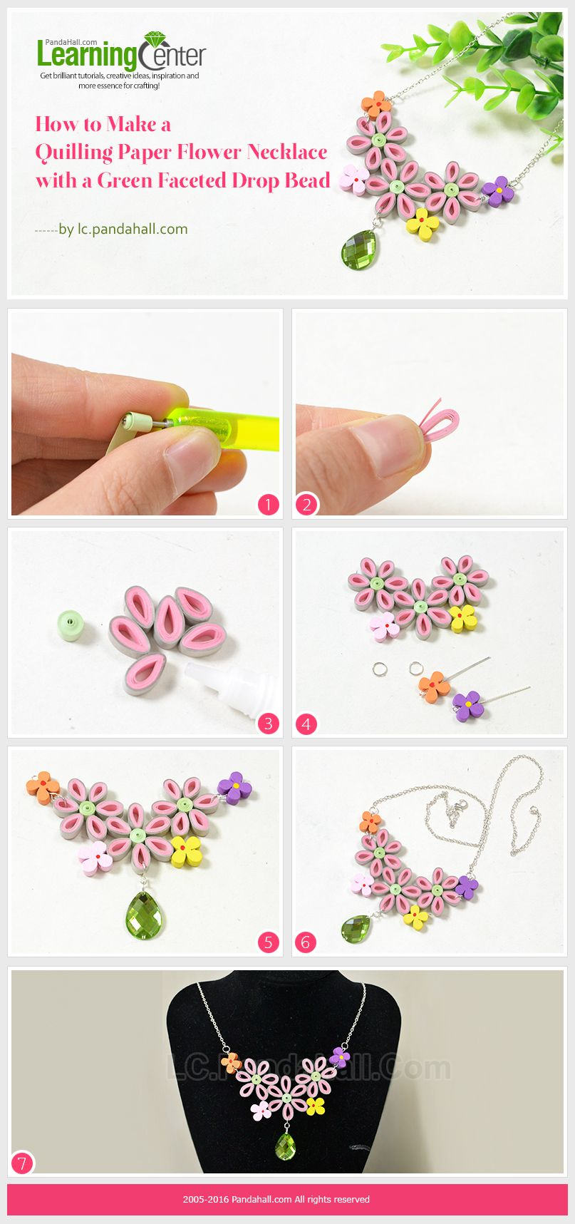 How to make a quilling paper flower necklace with a green faceted