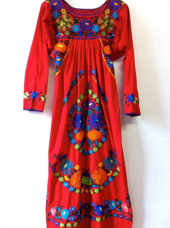 Oaxaca Embroidered Dress Red En 2019 Vestidos