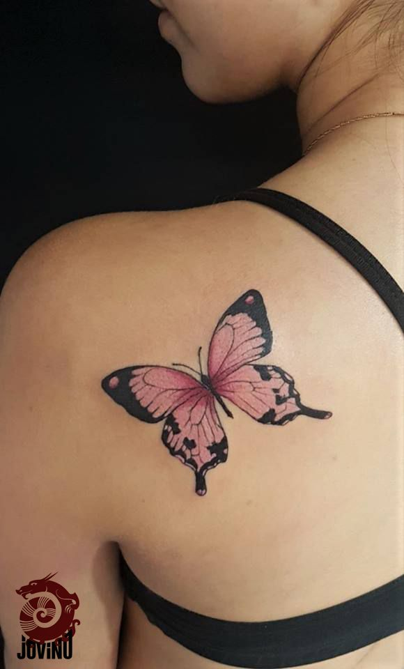 Pink Butterfly Tattoos : butterfly, tattoos, Realistic, Butterfly, Shoulder, Tattoo, Tattoos, Women,, Tattoo,