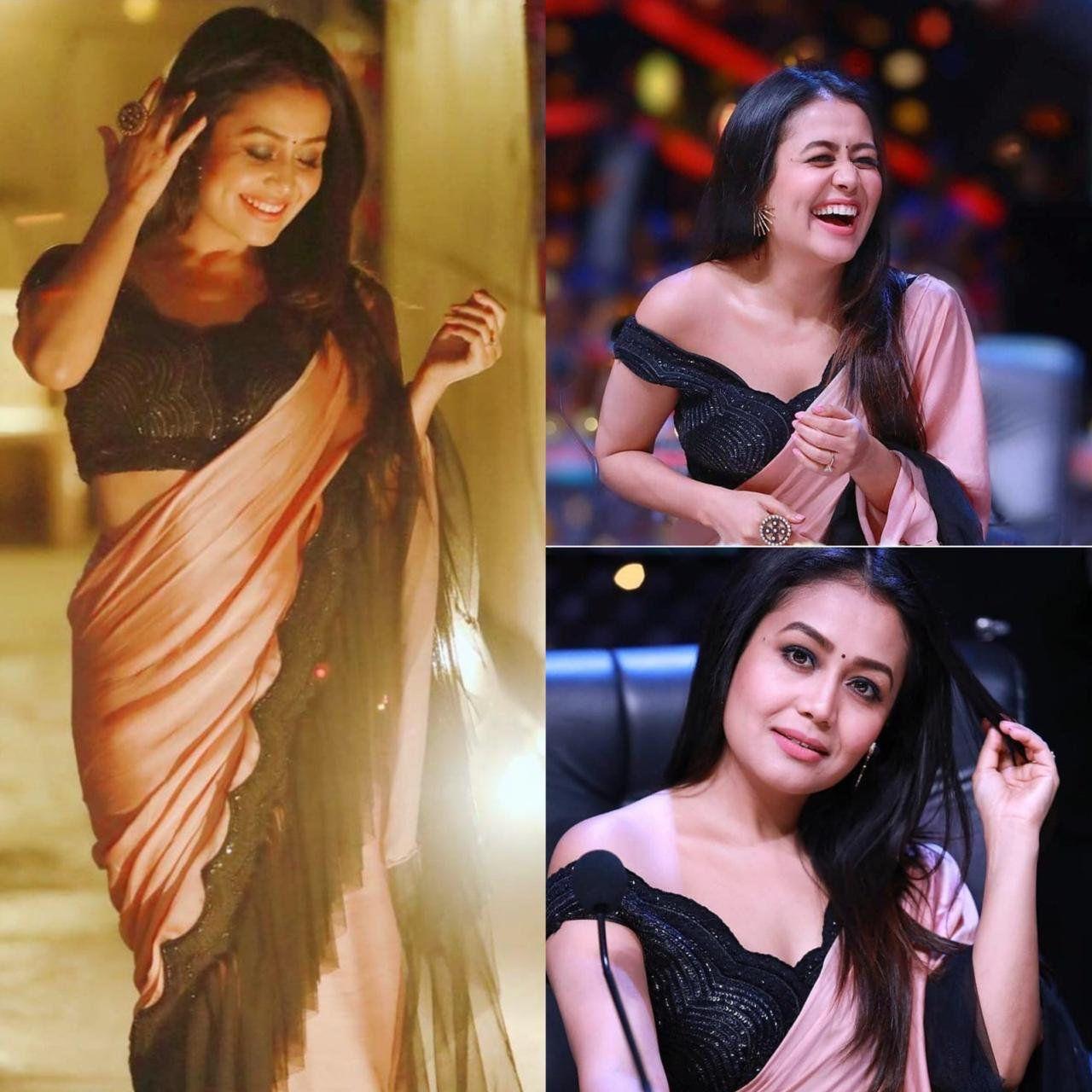 Neha Kakkar Style Peach Black Colour Party Wear Ruffle Saree By Shaliniboutique On Etsy Party Wear Sarees Bollywood Dress Peach Color Saree