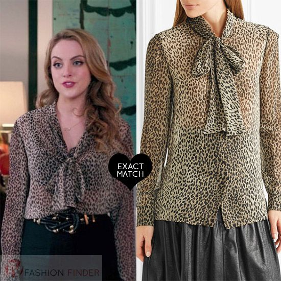 Fallon Carrington In Leopard Print Silk Blouse And Black Pants On