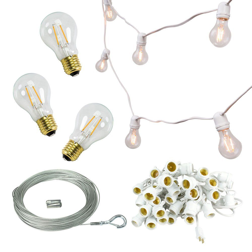 106 foot Commercial Grade White Wire Globe String Light with 50 A19 ...