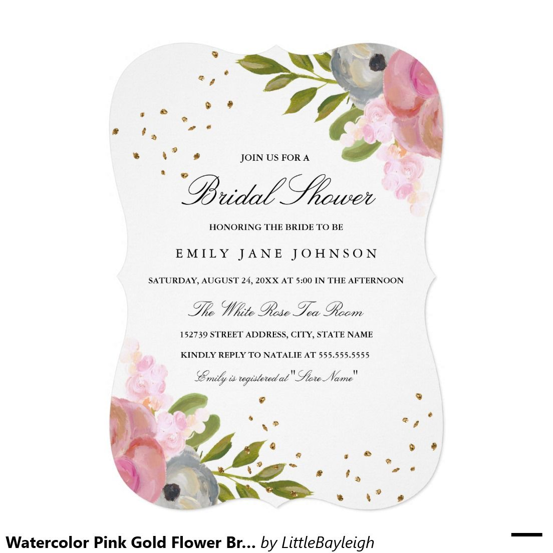 Watercolor Pink Gold Flower Bridal Shower Invite | Bridal Shower ...