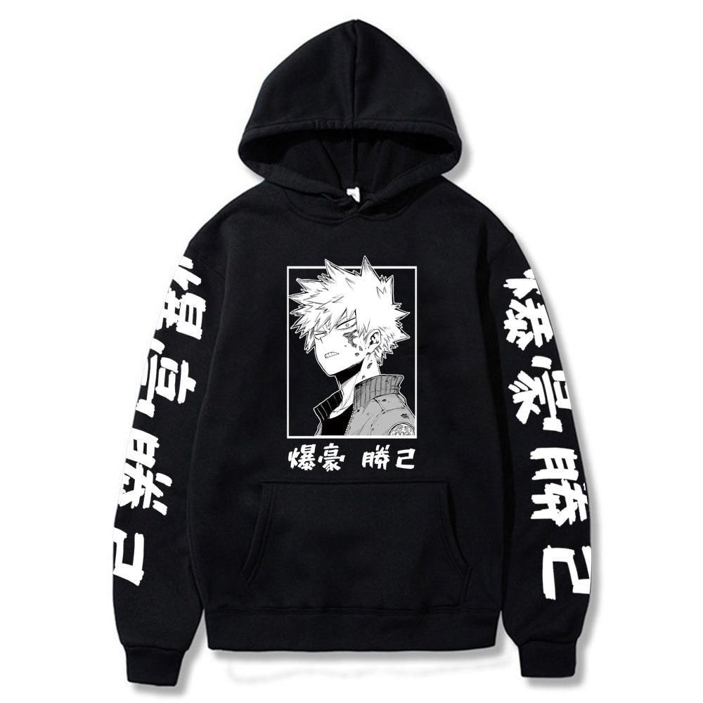 Photo of My Hero Academia Katsuki Bakugo Hoodies Sweatshirt Unisex Clothes Men Women Moleton – BLACK / XS
