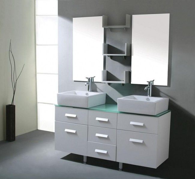 Aqua Decor Cabritzo 55 Inch Modern Double Vessel Sink Bathroom