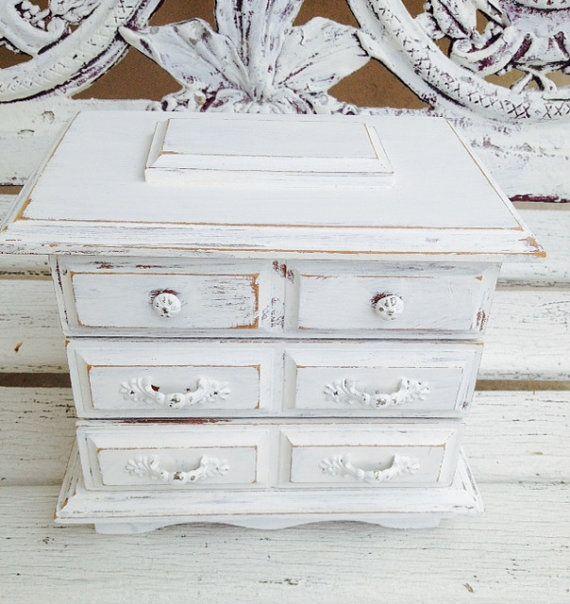 Jewelry Box White SHABBY CHIC Distress Wood Jewelry Holder Farmhouse