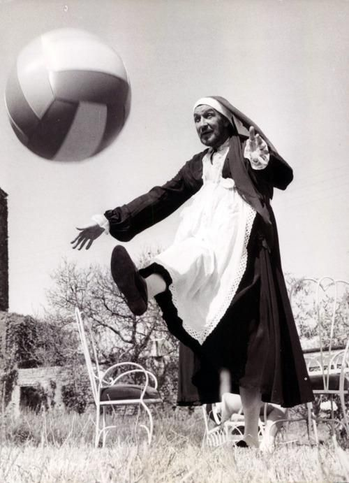 Vincent Price playing soccer.