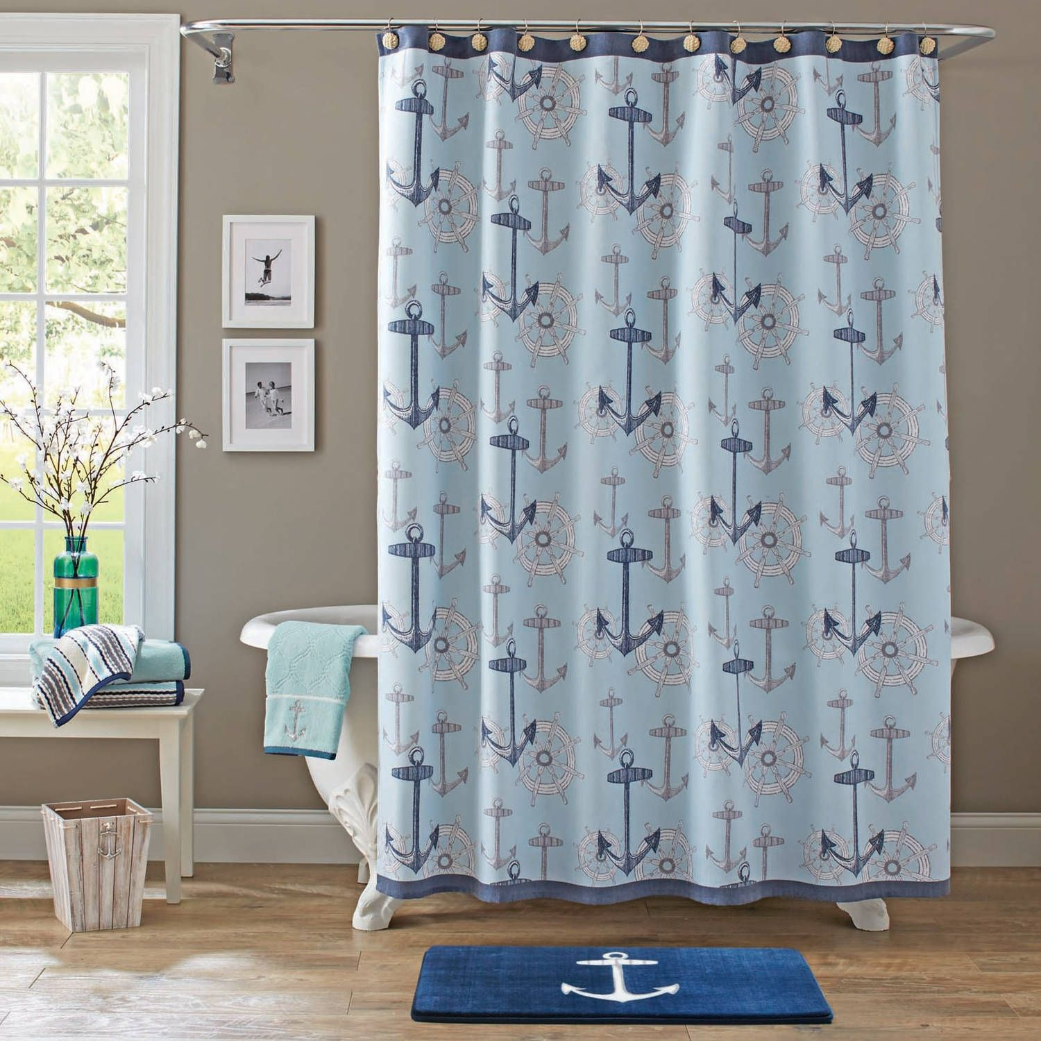 Bath Walmart for dimensions 8 X 8  Nautical shower curtains