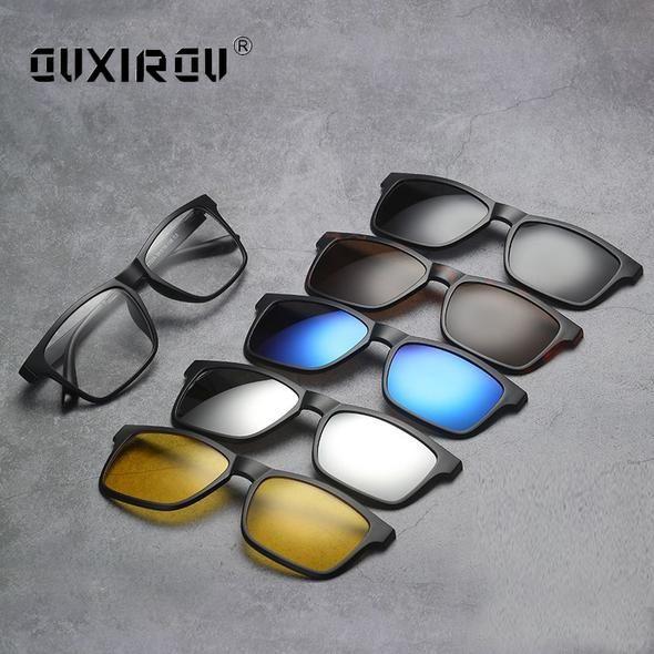 4fbc379182b fashion Man Eyeglasses Frames 5 Clip On Women Sunglasses Polarized Magnetic Glasses  Male Driving Spectacle Myopia