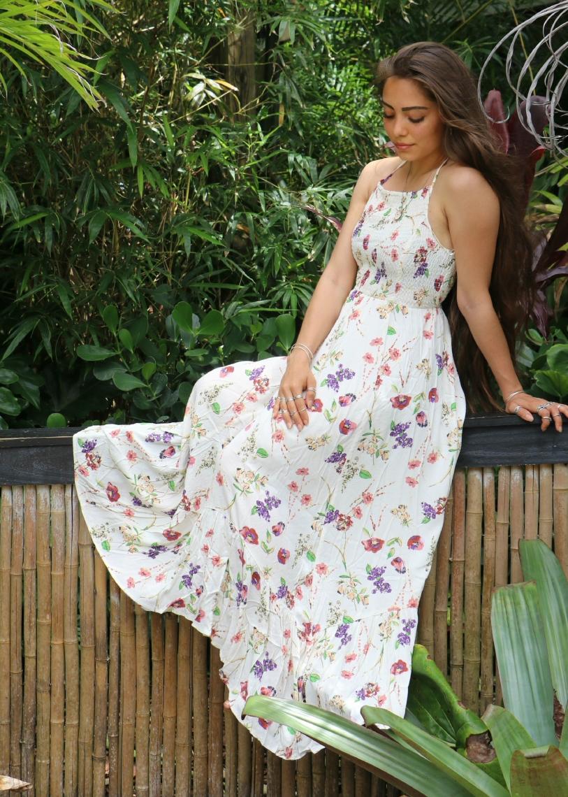 Rowena Floral Smocked Maxi Dress Lovestitch Maxi Dress Boho Maxi Dress Dresses [ 1140 x 813 Pixel ]