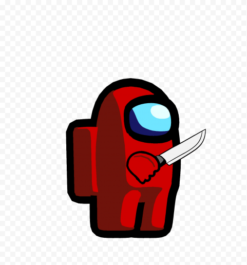 Hd Red Among Us Character With Knife Png Png Red Character