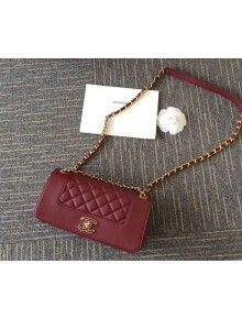 Chanel A93085 Iridescent Sheep Flap Bag With A Enamel CC Clasp Burgundy  Fall-Winter 2015 16 96ae921d92b4f