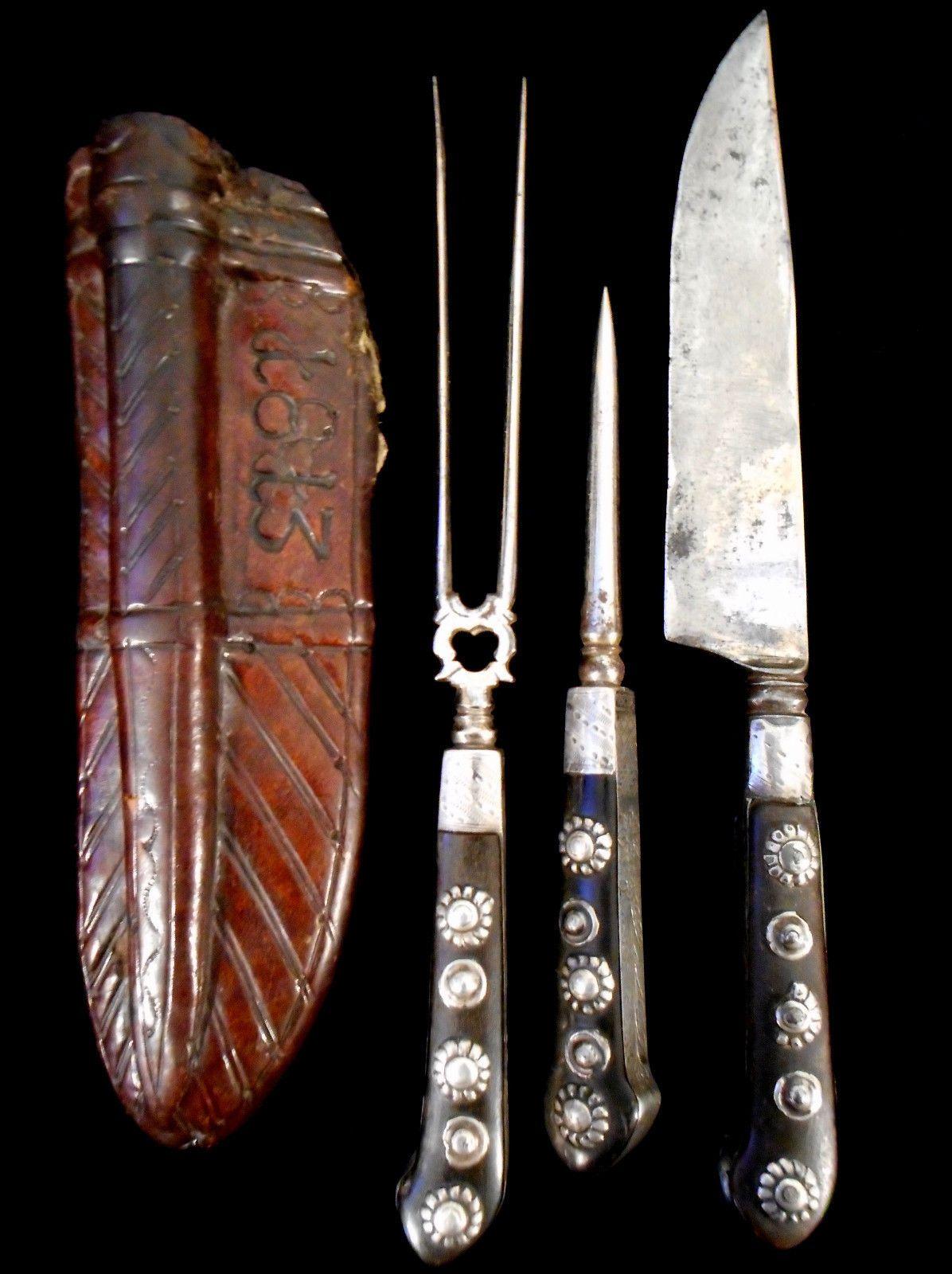 1813 german trousse knife fork sharpener set old collection