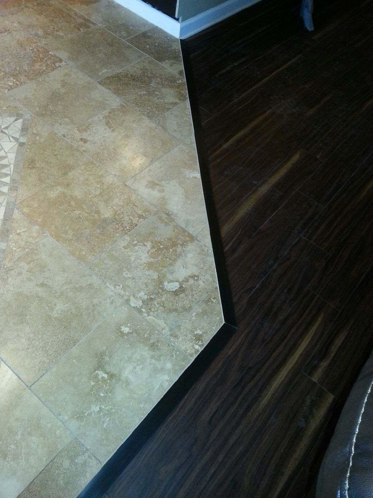 travertine and luxury vinyl plank