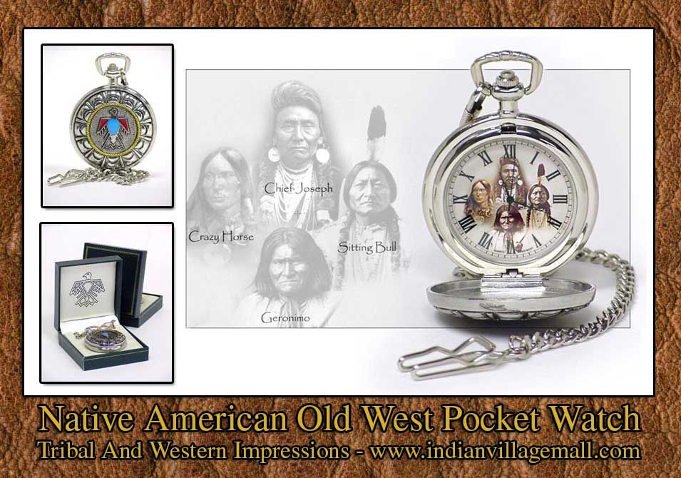 Thunderbird Old West Pocket Watch from Tribal And Western Impressions -review the old West pocket watch collection online off of: http://www.indianvillagemall.com/oldwestpocketwatches.html