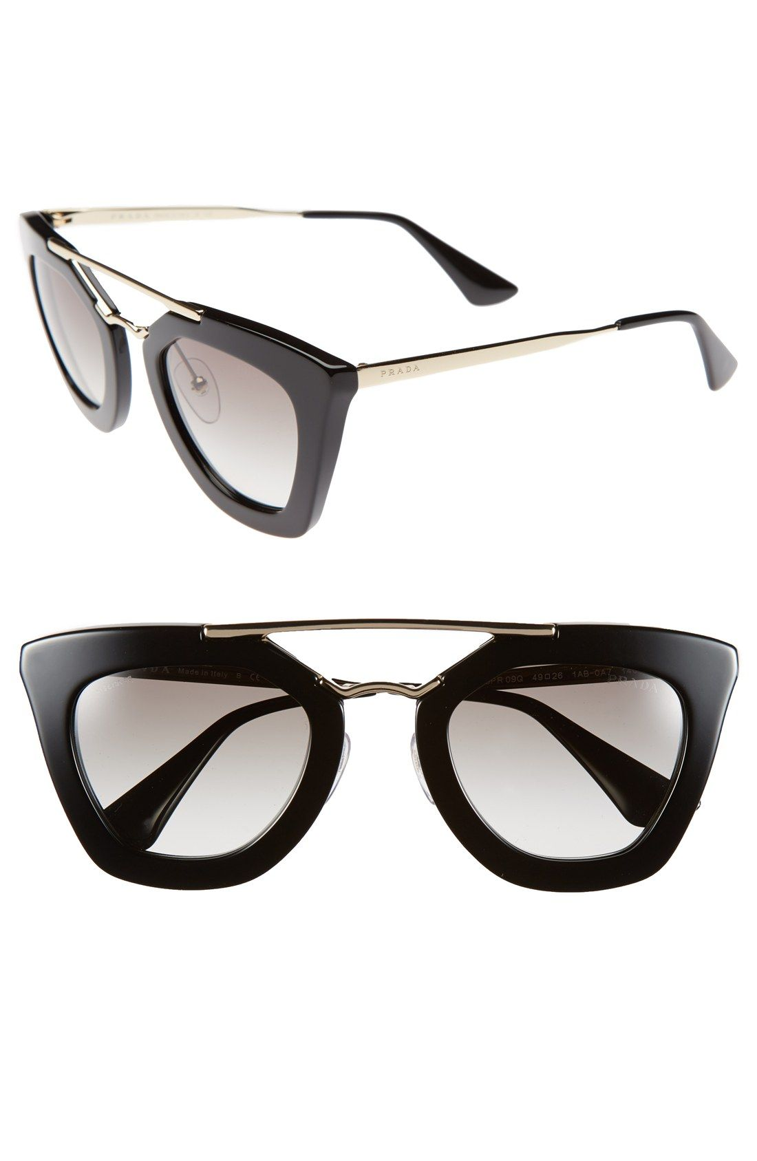 9f7c8feab67 Free shipping and returns on Prada 49mm Retro Sunglasses at Nordstrom.com.  A polished metallic browline stands out on the vintage-chic profile of ...