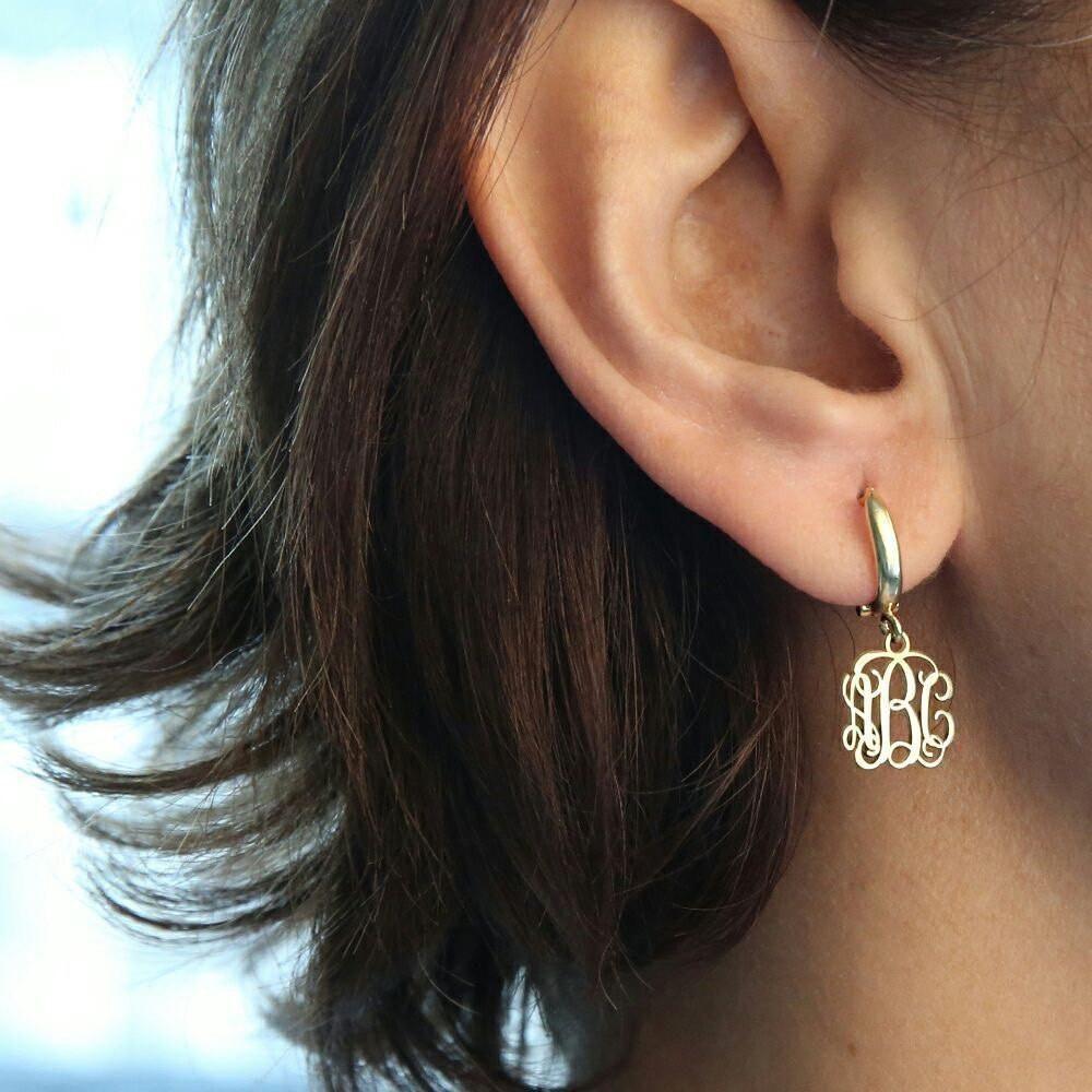 Bump under piercing  Personalized Monogram EarringGold EarringsPersonalized Earring