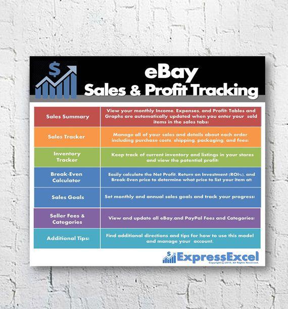 eBay Sales  Profit Tracking + Break Even Calculator Microsoft - ebay spreadsheet