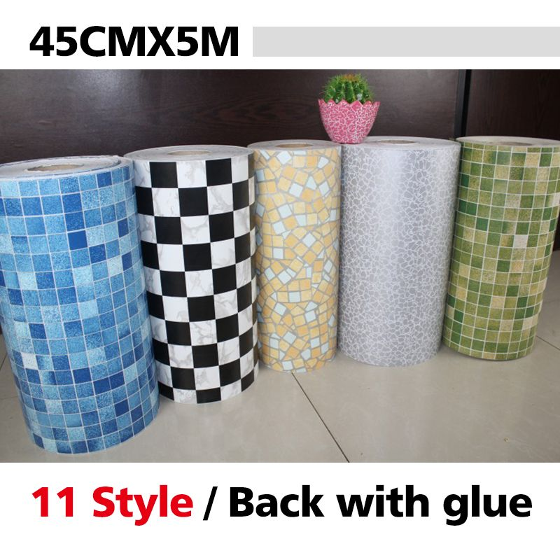 5 Meters Vinyl Pvc Mosaic Tile Self Adhesive Wallpaper For Bathroom Wc Kitchen Anti Oil Wat Mosaic Bathroom Tile Bathroom Wallpaper Brick Wallpaper Living Room
