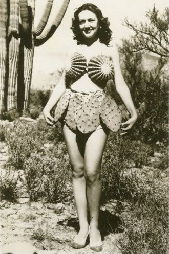 Vintage Photo: Cactus bikini from the 1930s.   For me, it's an occupational hazard... I am often pricked by cactus. Thankfully, not in such delicate areas. Great Photograph!